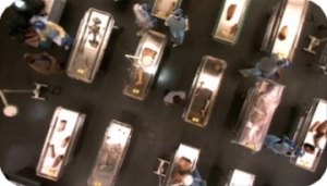 The outdoor morgue at Miami Metro.