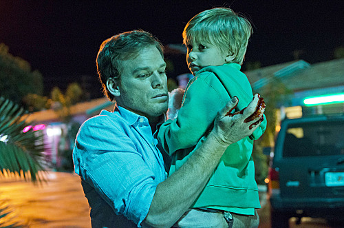 Michael C. Hall as Dexter Morgan and Jadon Wells as Harrison in Dexter (Season 8, episode 1) - Photo: Randy Tepper/Showtime - Photo ID: Dexter_801_1125